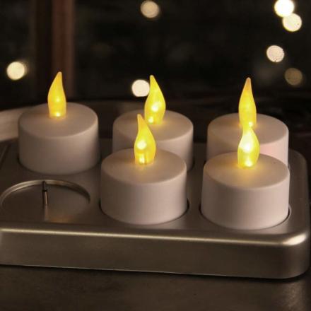 Genopladelig fyrfadslys T-Light LED 6er-sæt