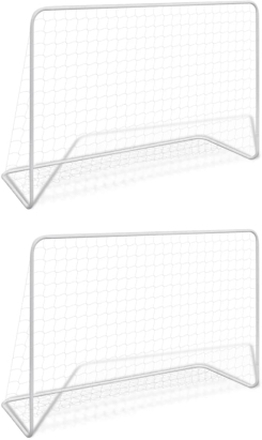 vidaXL Fotbollsmål 2 st med nät 182x61x122 cm stål vit