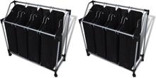vidaXL Tvättsorterare med påsar 2 st svart och grå