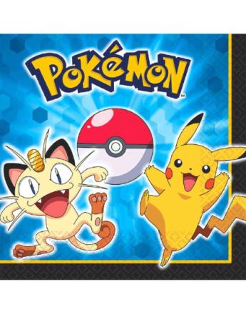 20 stk Servietter 33x33 - Pikachu og Pokémon-Venner