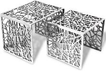 vidaXL Kaksiosainen Sivupöytä Neliö Alumiini Hopea