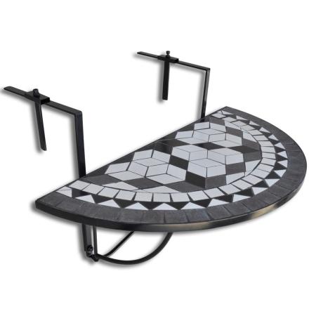 vidaXL Mosaikk Balkongbord Semi-sirkulær Svart & Hvit