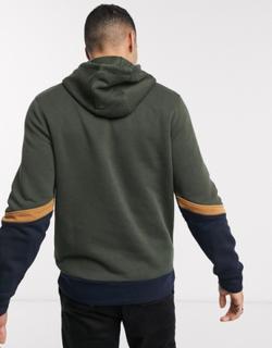Jack & Jones essentials colour block overhead hoodie-Green