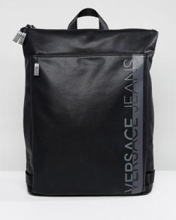 Versace Jeans Backpack In Black With Large Logo - Black