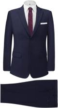 Vidaxl tvådelad kostym herrar marinblå strl. 52