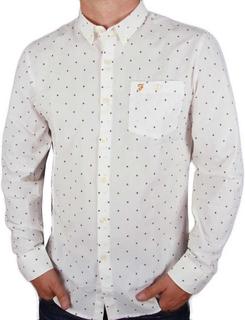 Farah Albyn Slim Fit långärmad skjorta - Off White / vin S