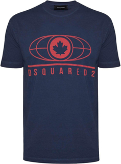 Dsquared2 DSQUARED2 marinblå Logo Print T-Shirt Navy/blå X-large