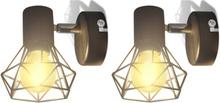 vidaXL 2 Vägglampor i industri-design med LED-glödlampor svart