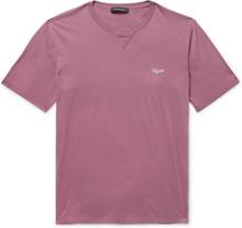 Logo-embroidered Cotton-jersey T-shirt - Grape