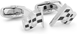 Checked Flag Silver-tone And Enamel Cufflinks - Silver