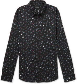 Slim-fit Printed Cotton-poplin Shirt - Black