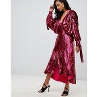 ASOS EDITION - midiklänning med fladdermusärm och paljetter och rosett - Rosa