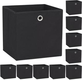 vidaXL opbevaringskasser 10 stk. uvævet stof 32 x 32 x 32 cm sort