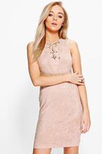 Mya Suedette Lace Up Dress
