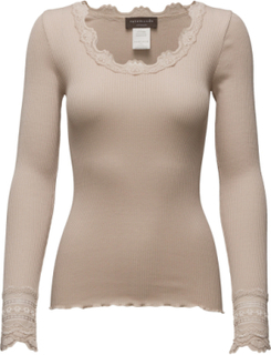 Silk T-Shirt Regular Ls W/Wide Lace T-shirts & Tops Long-sleeved Beige Rosemunde
