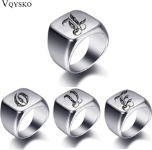 Initial Engrave Custom Rings For Men Stainless Steel Male Signet Blank Jewelry Ring Band High Polished Silver Tone U.S.Size