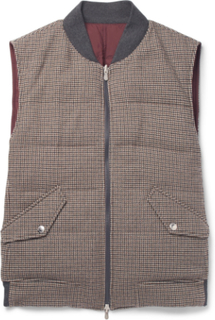 Reversible Houndstooth Wool And Cashmere-blend Quilted Down Gilet - Brown