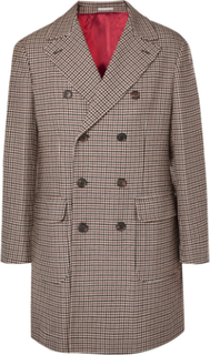 Double-breasted Houndstooth Wool And Cashmere-blend Coat - Brown