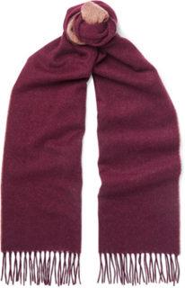 Fringed Two-tone Cashmere Scarf - Claret