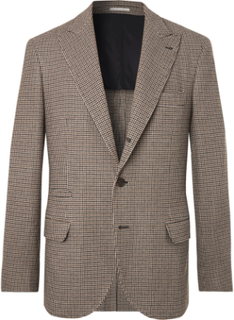 Brown Alessio Houndstooth Wool And Cashmere-blend Blazer - Brown