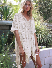 White Knitted Hollow out Beach Dress