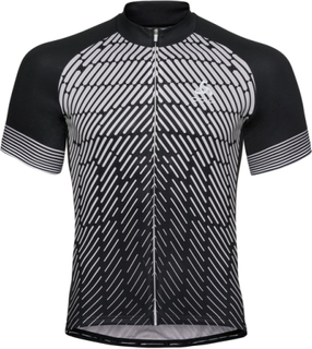 Odlo Stand-up collar s/s full zip FUJIN PRINT M Black/Odlo Silver Grey