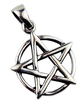 Silveramulett - Pentagram på cirkel