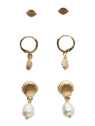 PIECES 3-pack Seashell Earrings Women Gold