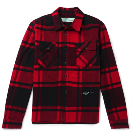 Embellished Checked Cotton-blend Flannel Shirt - Red