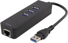 USB 3.0 Nätverksadapter & USB Hub (1000Mbps)