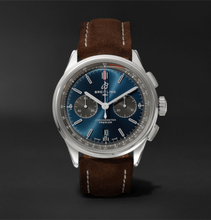 Breitling - Premier B01 Chronograph 42mm Stainless Steel And Nubuck Watch, Ref. No. Ab0118221g1x1 - Blue