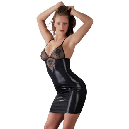 Minikjole med similisten i skinnende sort - boutiqueerotic