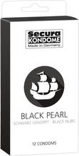 Secura Black Pearl Sort Kondom med Nopper