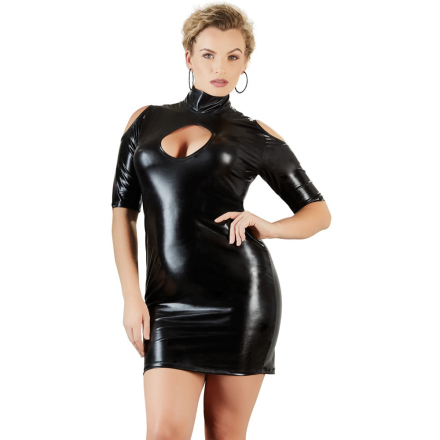 Plus Size Wetlook Kjole med Cut-Outs - boutiqueerotic