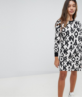 Noisy May Jersey Dress With Letter Print - Multi