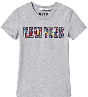 MSGM New York Floral Applique T-shirt Grå 4 years