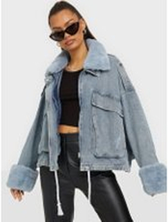 Missguided Fur Collar Denim Jacket Jeansjackor