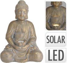 ProGarden Buddha med soldrevet lys gull MGO