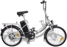 Sammenleggbar elektrisk sykkel sølv - litium batteri