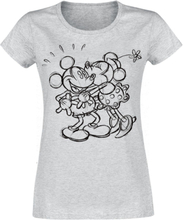 Mickey Mouse - Kiss Sketch -T-skjorte - lynggrå