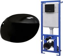 vidaXL Vägghängd äggformad toalett med dold cistern svart