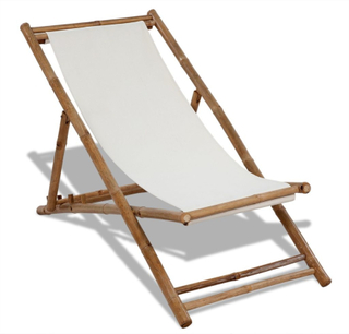 vidaXL Solstol i bambu och kanvas