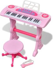vidaXL Keyboard för barn med pall och mikrofon 37 tangenter rosa