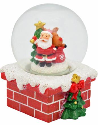 Julenisse på Skorstein - Liten Snøkule 7x5 cm