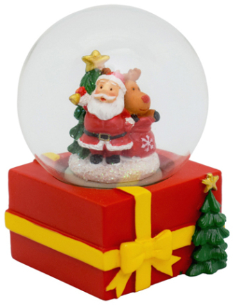 Jultomte på Paket - Liten Snöglob 7x5 cm