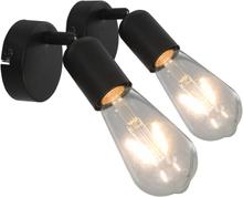 vidaXL Spotlights 2 st med glödlampor 2 W svart E27
