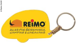NØKKELRING CAMPINGVOGN MED REIMO-LOGO, CA . 5 CM