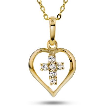 Gull anheng med hjerte/kors