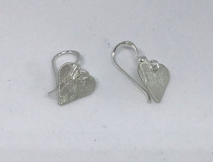Hjerte ørepynt heng - sølv