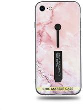 Modeskal med fingerhållare till iPhone 7/8 med marmor i ljusrosa